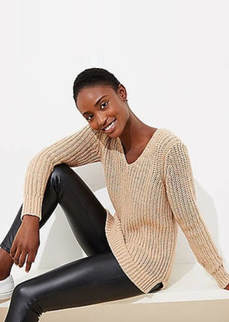 LOFT Shimmer V-Neck Sweater