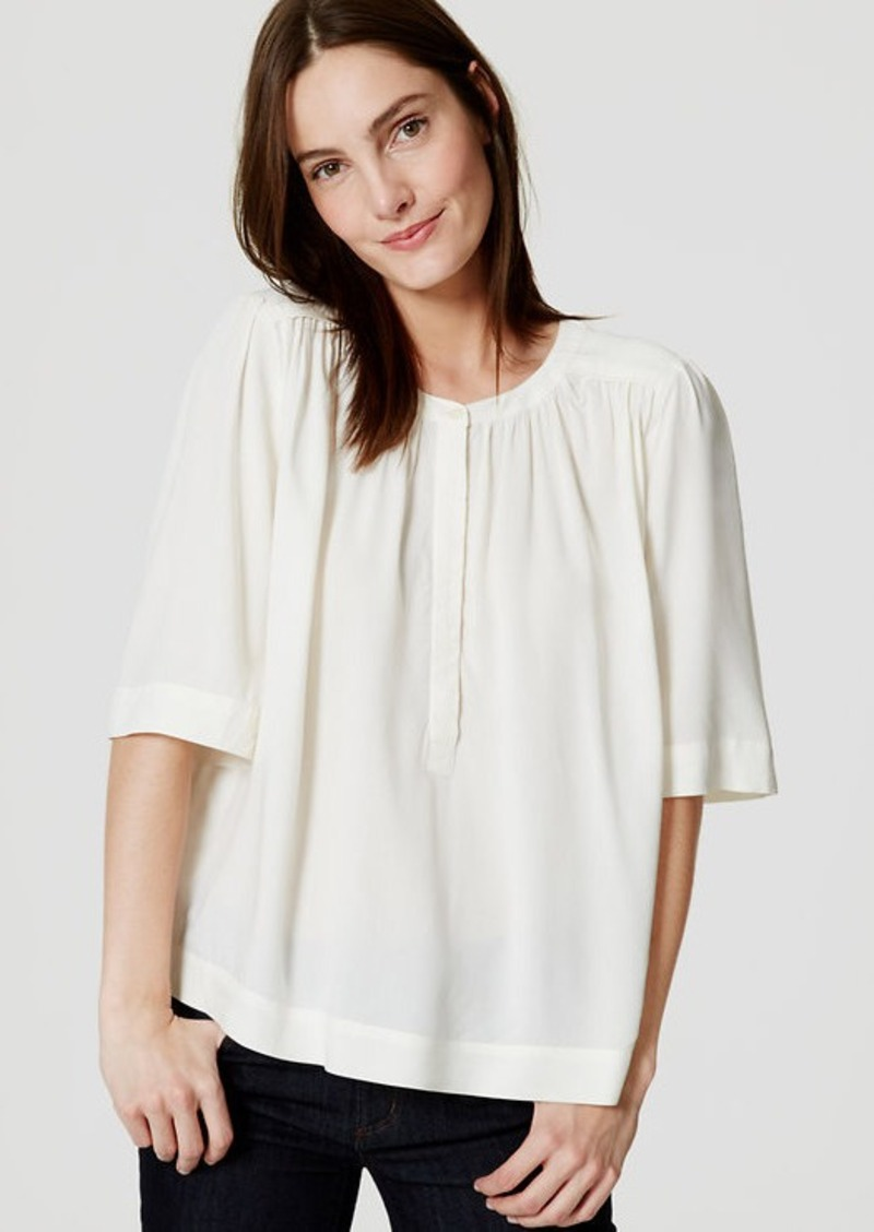 LOFT Shirred Henley Blouse