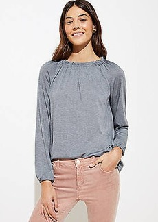 LOFT Shirred Ruffle Tie Back Tee