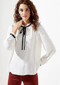 LOFT Shirred Ruffle Tie Neck Blouse