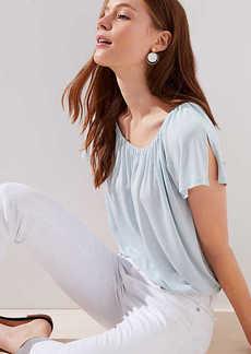 LOFT Shirred Split Sleeve Top