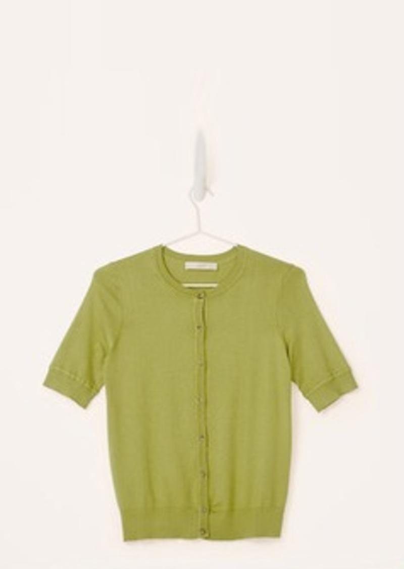 Cotton Short Sleeve Cardigan Sweater - Full Zip Sweater