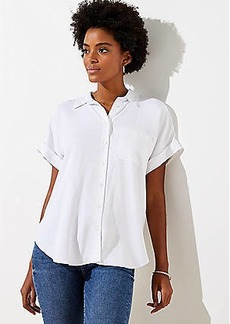 LOFT Short Sleeve Tunic Blouse
