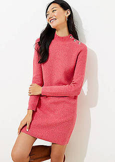 LOFT Shoulder Button Ribbed Sweater Dress