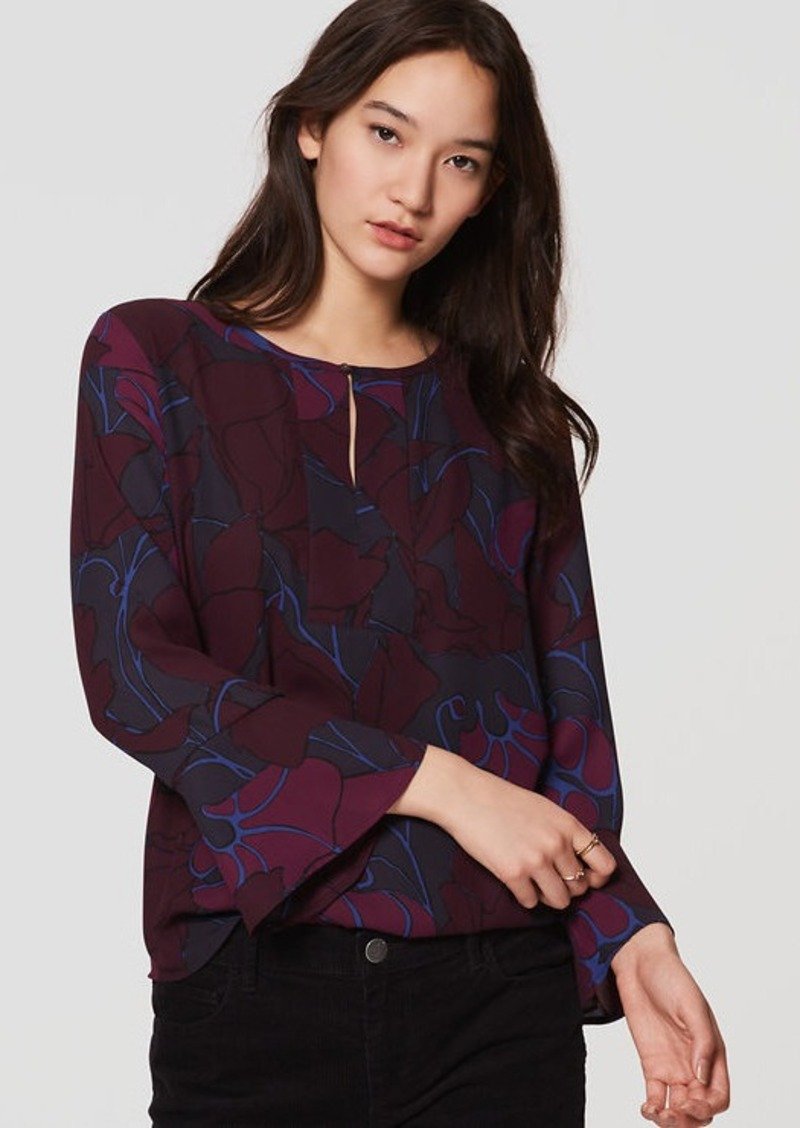 LOFT Silky Floral Mixed Media Bell Sleeve Top