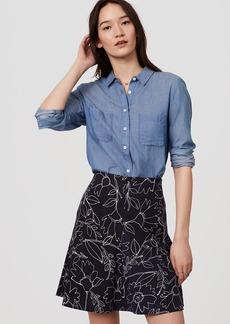 Sketched Floral Flippy Skirt