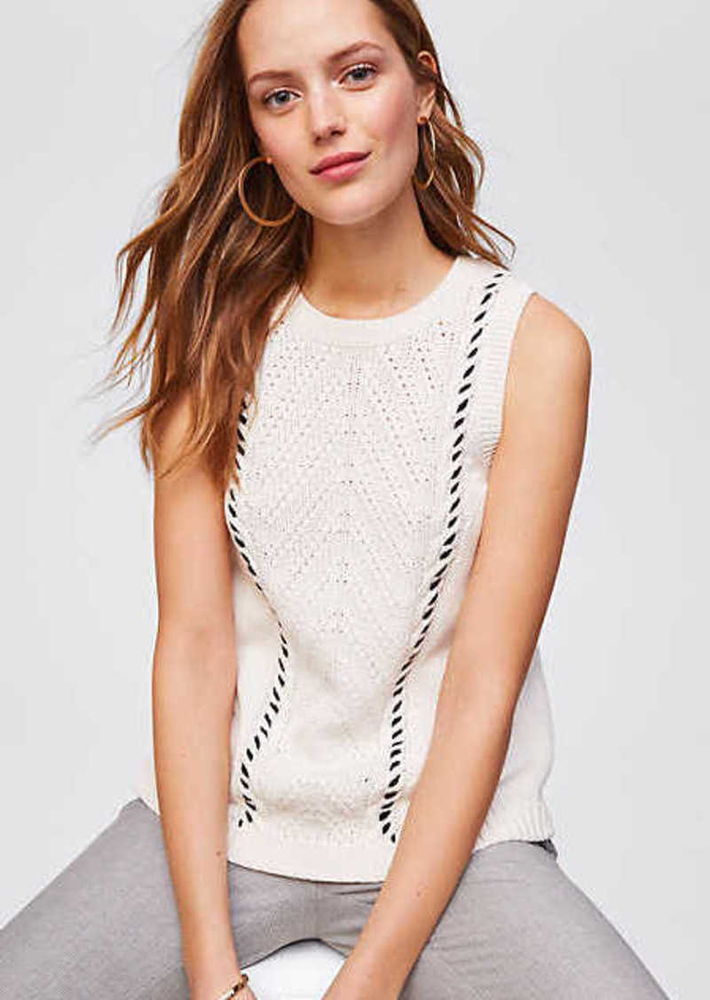 Loft Sleeveless Cable Knit Sweater Sweaters