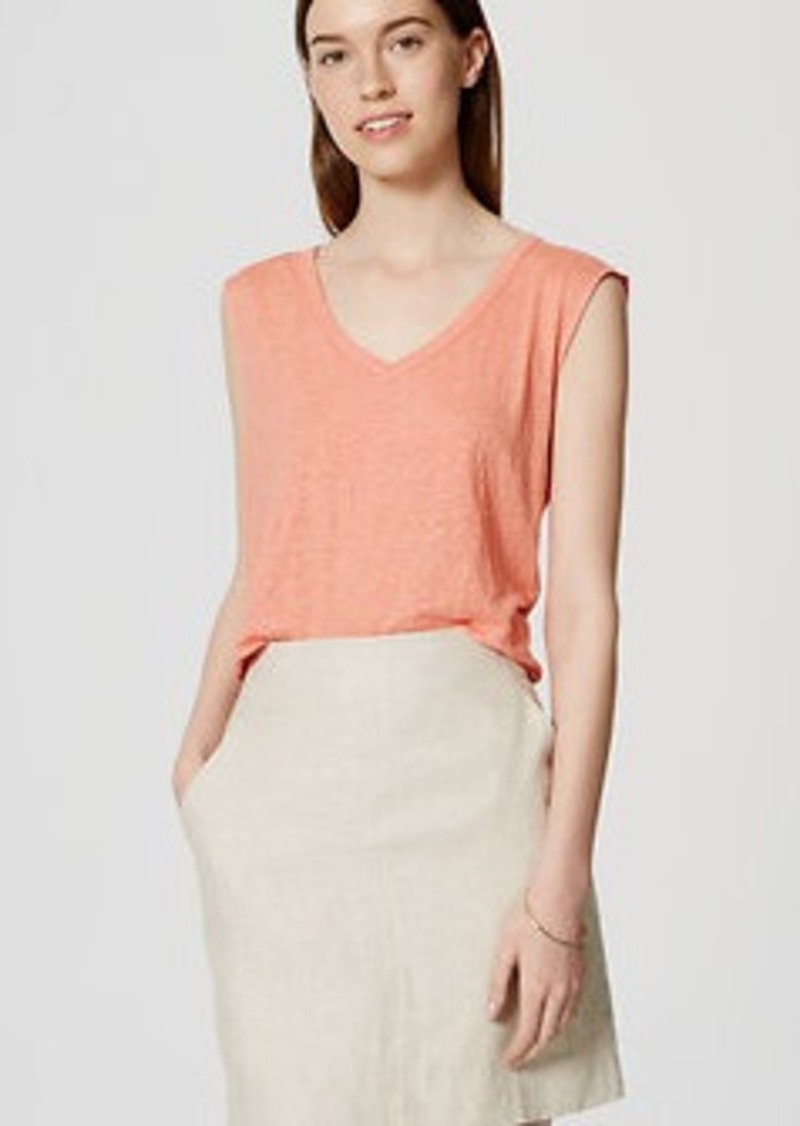 LOFT Sleeveless Linen V-Neck Tee
