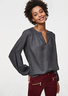 Smocked Split Neck Blouse