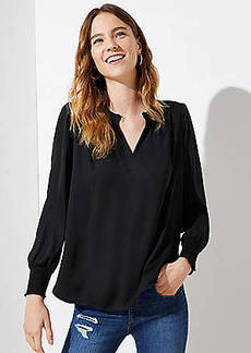LOFT Smocked Split Neck Blouse