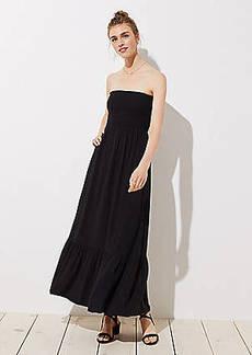 LOFT Smocked Strapless Maxi Dress