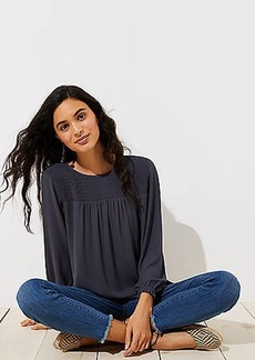 LOFT Smocked Yoke Blouse