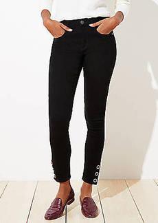 LOFT Snap Hem Slim Pocket Skinny Jeans in Black