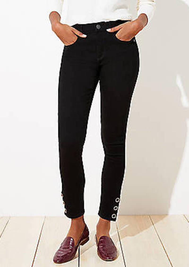 LOFT Snap Hem Slim Pocket Skinny Jeans in Black