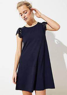 LOFT Petite Lace Cap Sleeve Swing Dress