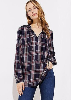 LOFT Shimmer Plaid Ruffle Tie Neck Blouse