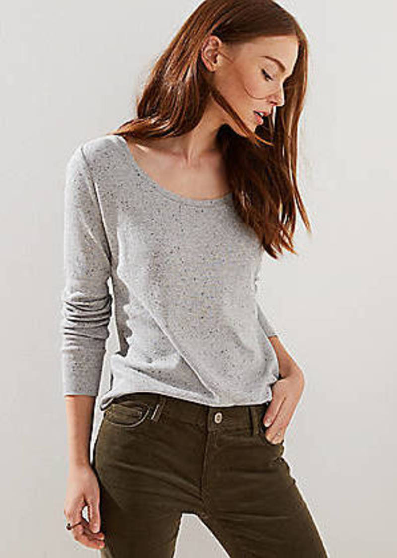 LOFT Speckle Striped Long Sleeve Shirttail Tee