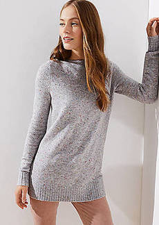 LOFT Speckled Boatneck Tunic Sweater