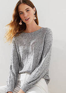 LOFT Speckled Draped Sleeve Sweater