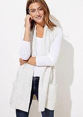 LOFT Speckled Pocket Open Sweater Vest
