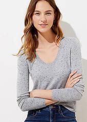 LOFT Flecked Luxe Knit Shirttail Sweater