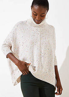 LOFT Speckled Turtleneck Poncho Sweater