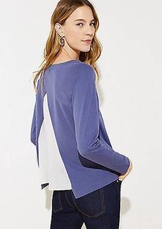 LOFT Split Back Mixed Media Sweatshirt