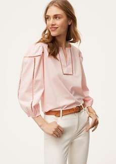 Split Neck Cutout Blouse