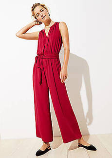 LOFT Split Neck Tie Waist Jumpsuit