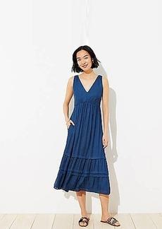 LOFT Spotted Tiered Pocket Midi Dress