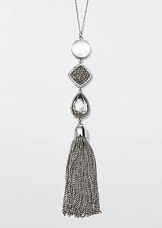 LOFT Stacked Stone Tassel Pendant Necklace