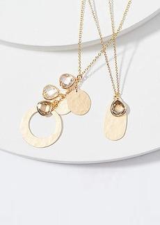 LOFT Stone & Hammered Disc Necklace Set