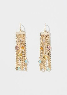 LOFT Stone Chain Fringe Earrings