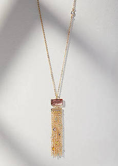 LOFT Stone Chain Fringe Pendant Necklace