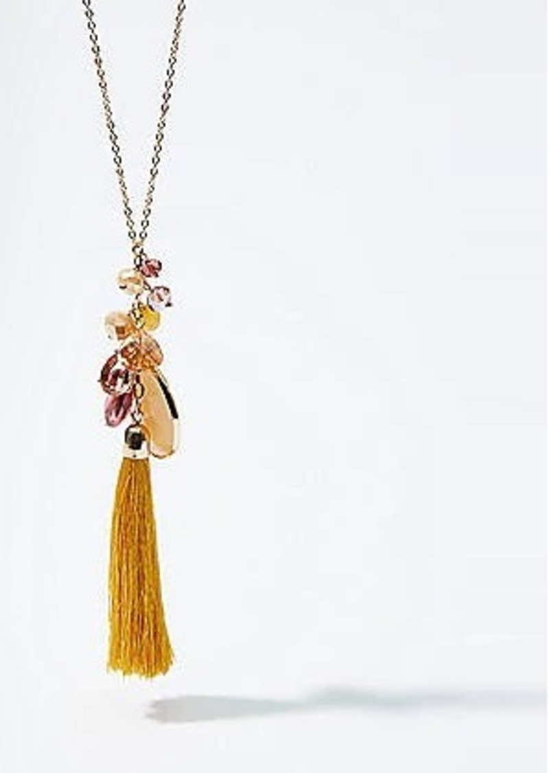 LOFT Stone Tassel Pendant Necklace