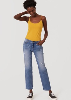 Straight Crop Jeans in Destructed Stonewash