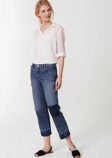 LOFT Straight Crop Patchwork Jeans in Indigo Wash