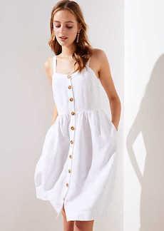 LOFT Strappy Button Down Pocket Flare Dress