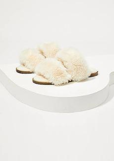 LOFT Strappy Faux Fur Sandals