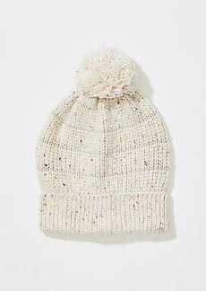LOFT Stripe Embellished Faux Fur Pom Pom Hat