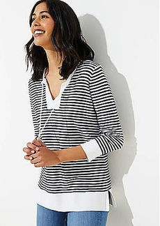 LOFT Stripe Tasseled Tie Neck Tunic Sweater