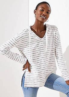 LOFT Stripe Textured Hoodie Top
