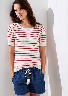 LOFT Stripe Textured Short Sleeve Sweater