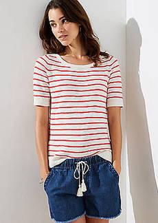 LOFT Stripe Textured Short Sleeve Sweater