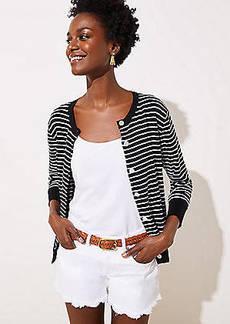 LOFT Striped 3/4 Sleeve Signature Cardigan
