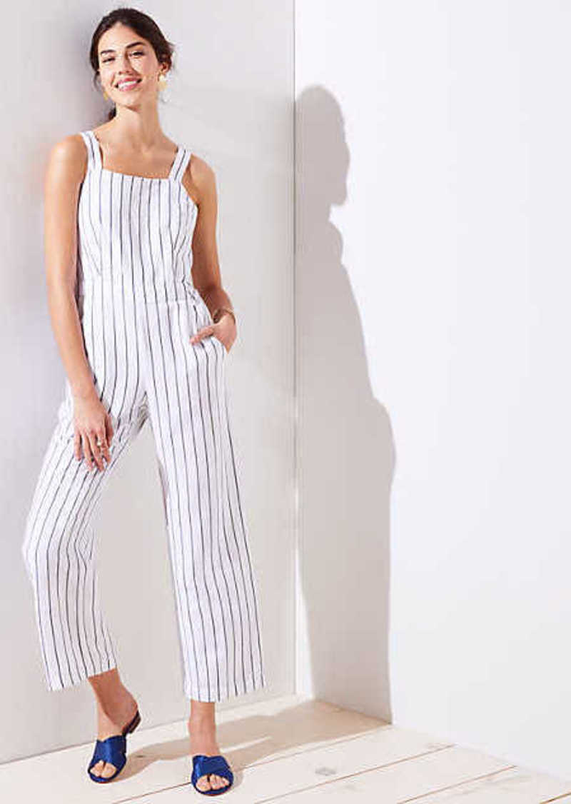 LOFT Striped Apron Jumpsuit