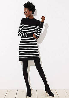 LOFT Striped Back Button Sweater Dress