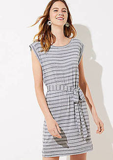 LOFT Striped Belted Tee Dress