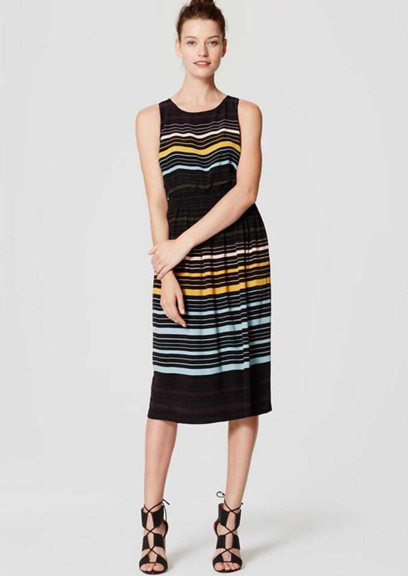 LOFT Striped Blouson Midi Dress