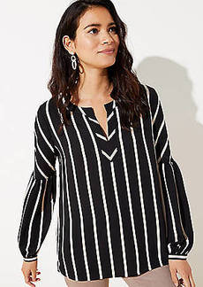 LOFT Striped Split Neck Tunic Top